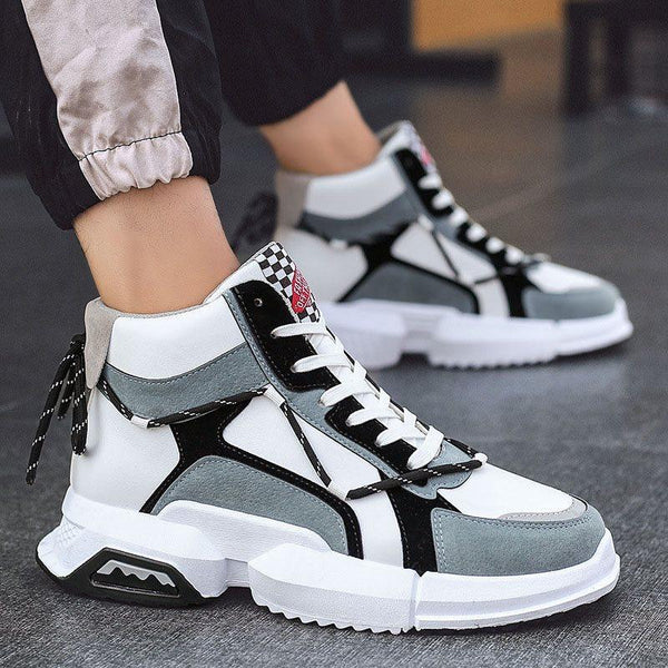 Sports High-Cut Upper Lace-Up Round Toe Thread Sneakers