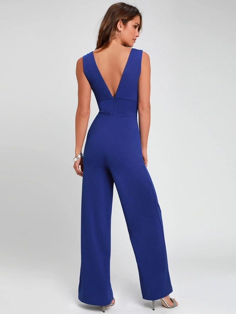 Backless Full Length Sexy Wide Legs Slim Jumpsuit