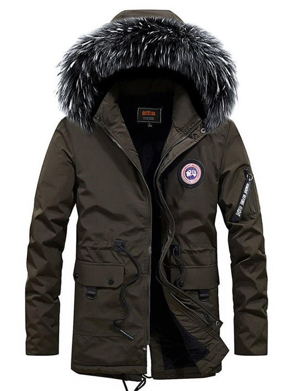 Stand Collar Pocket Mid-Length Zipper Casual Down Jacket