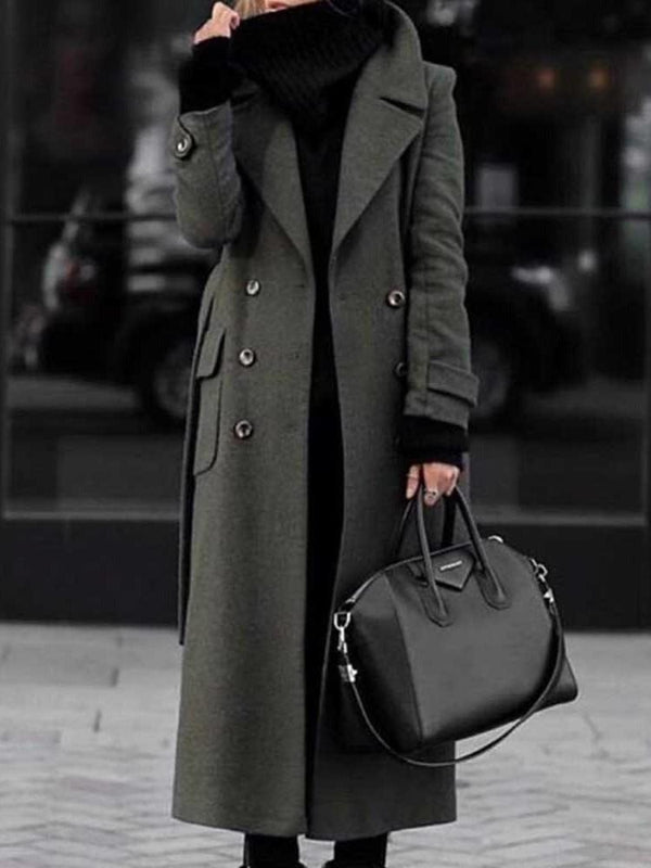 Double-Breasted Straight Long Fall Overcoat