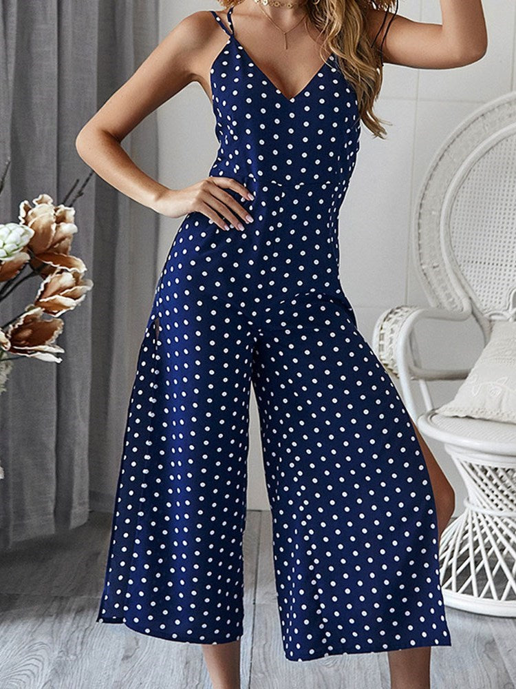 Polka Dots Fashion Ankle Length Slim Wide Legs Jumpsuit