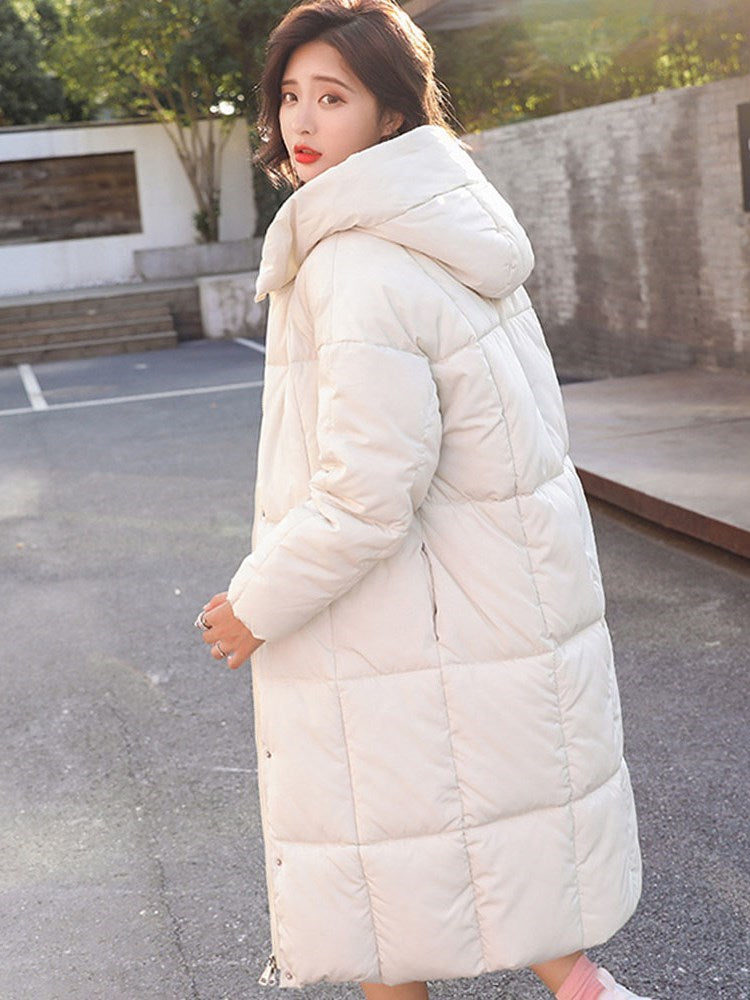 Thick Zipper Straight Mid-Length Cotton Padded Overcoat