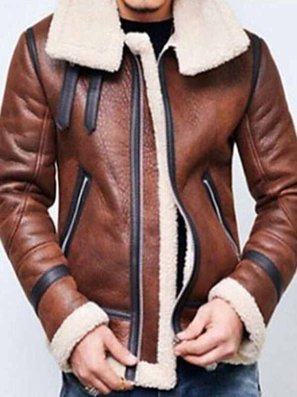 Patchwork Fleece Color Block Zipper Casual Jacket