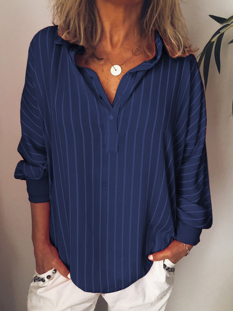 Regular Lapel Button Long Sleeve Mid-Length Blouse