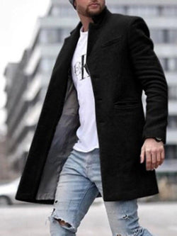 Button Mid-Length Plain Straight Fall Coat