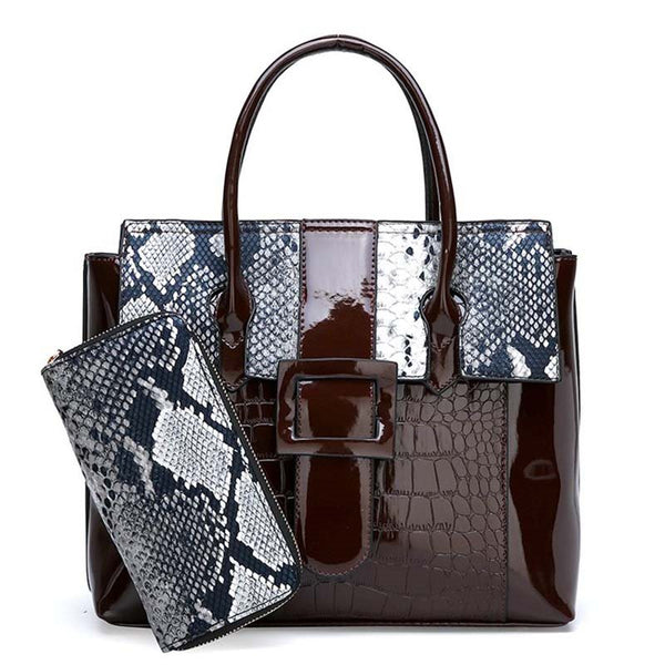 Belt-Decorated PU Serpentine Square Tote Bags