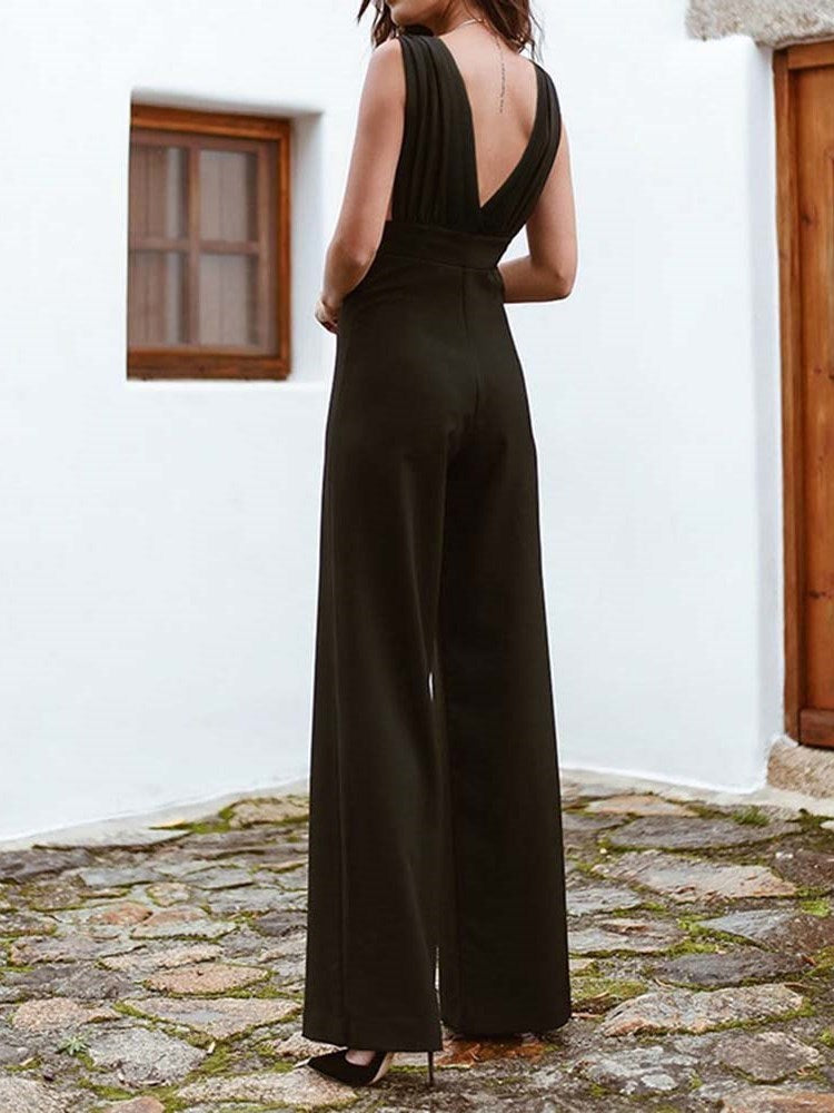 Full Length Plain Western Wide Legs Loose Jumpsuit