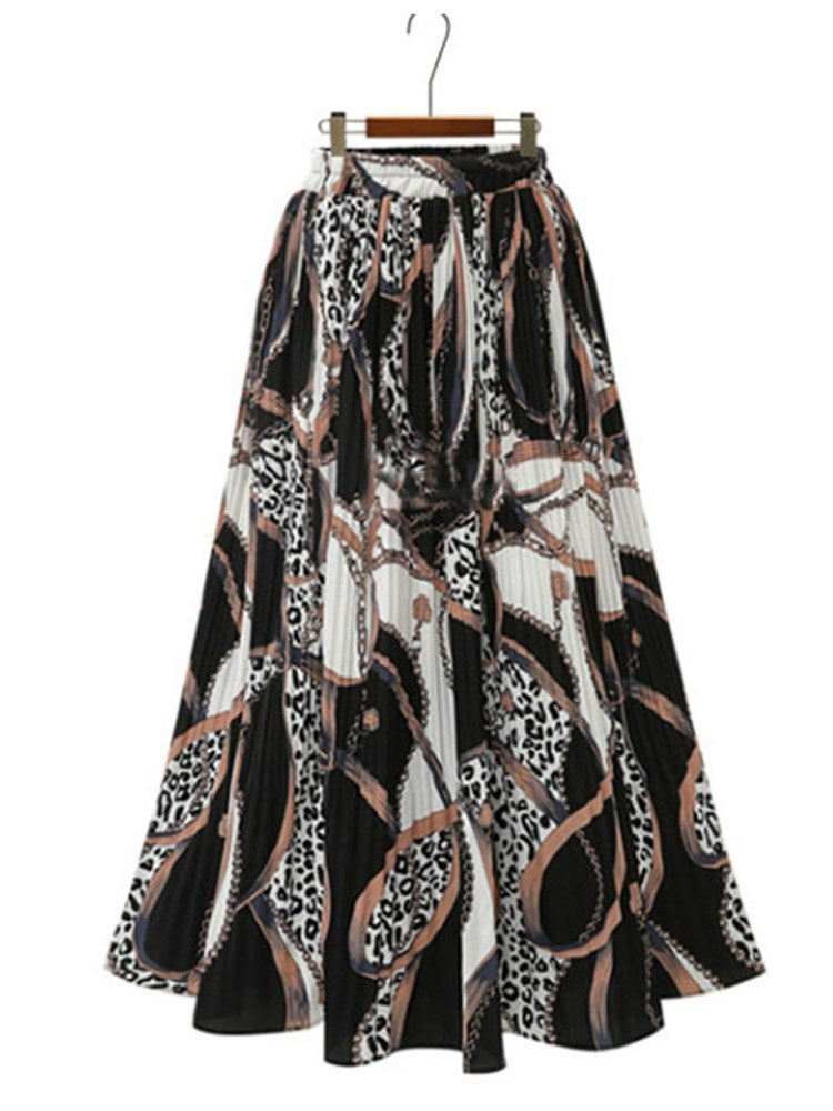 Floral Pleated Mid-Calf Fashion Skirt