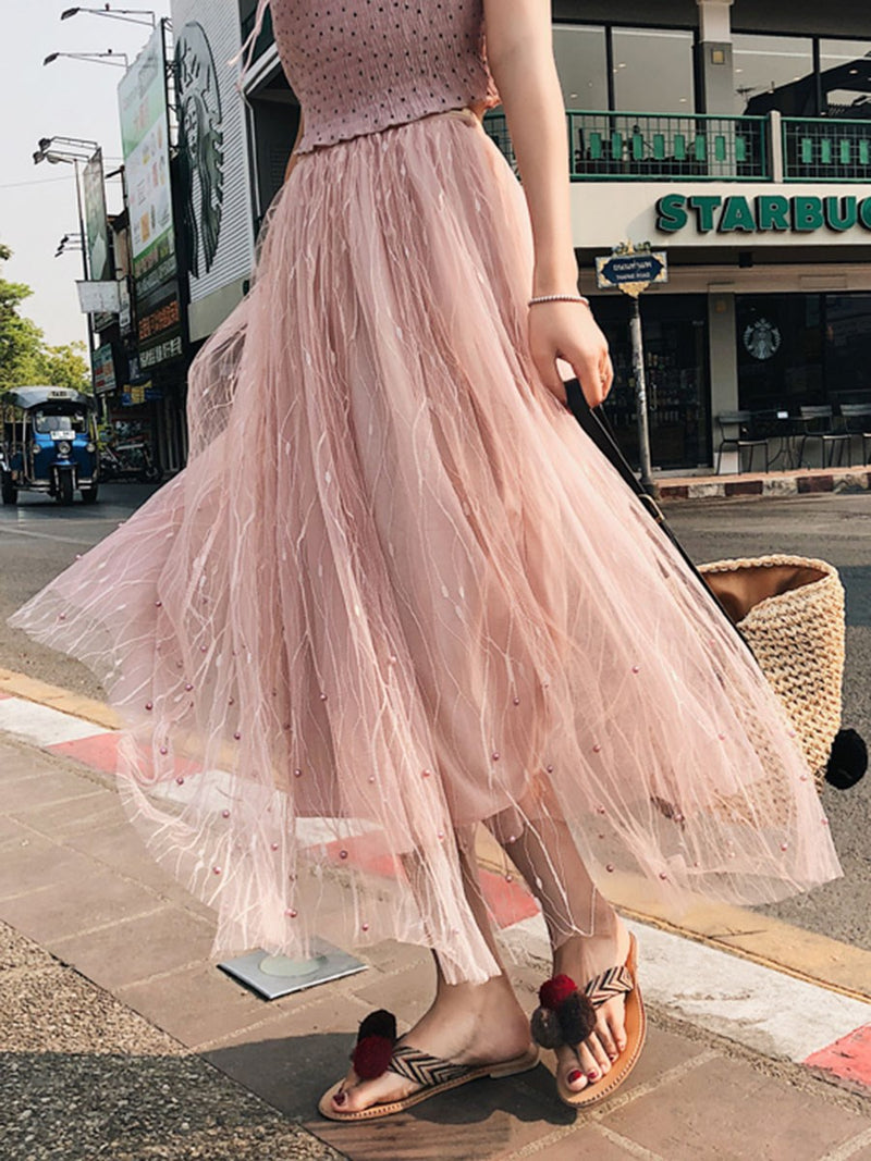 Mid-Calf Plain Expansion High Waist Sweet Skirt