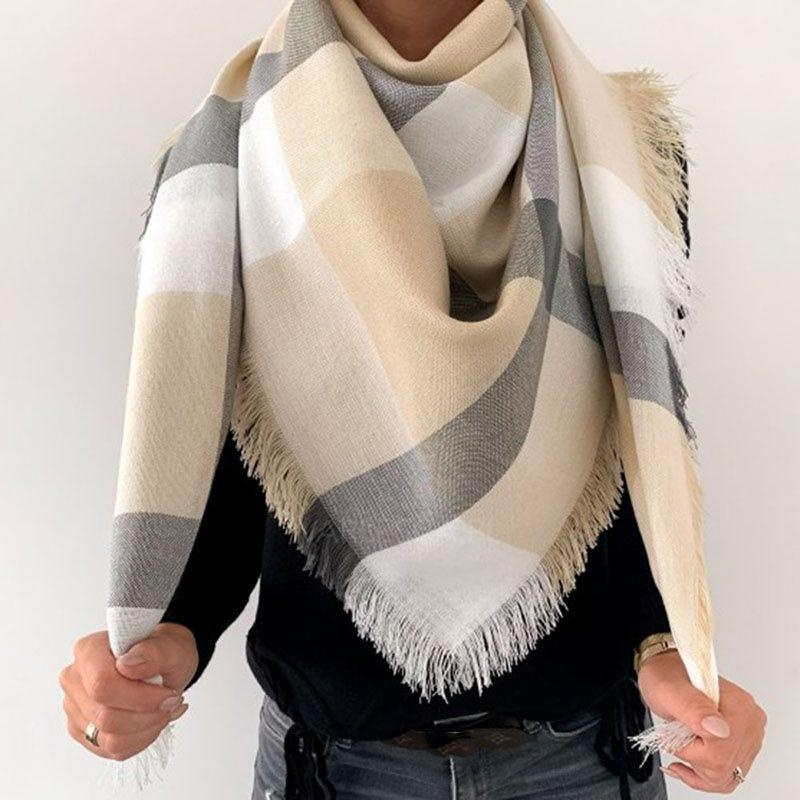 Scarf Tassel Casual Plaid Scarves