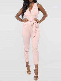 Office Lady Bowknot Plain Skinny Jumpsuit