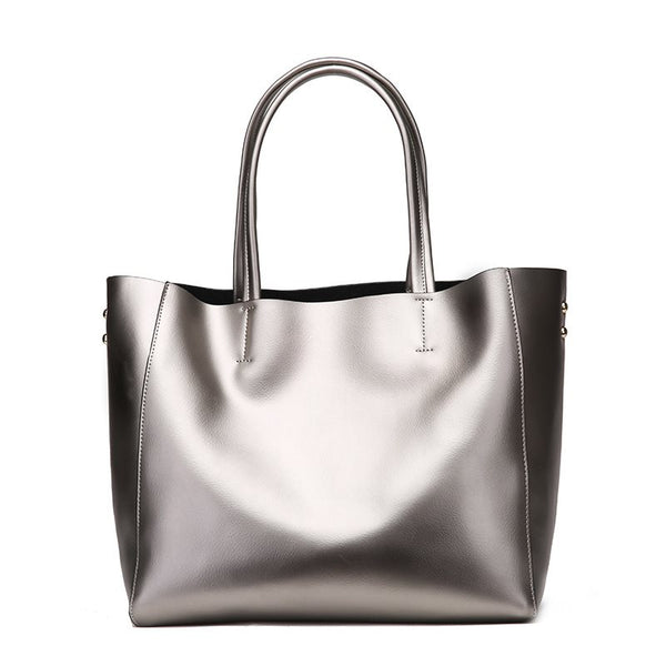Leather Plain Thread European Barrel-Shaped Tote Bags