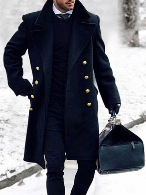 Long Plain Pocket Winter Double-Breasted Coat