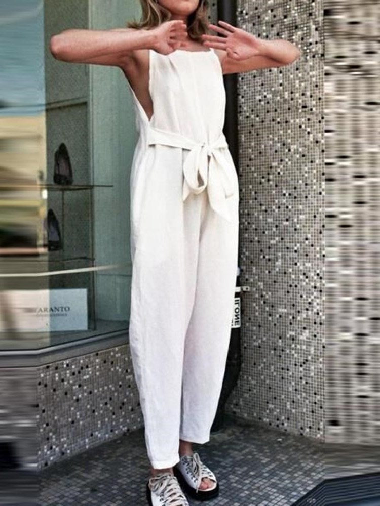 Ankle Length Fashion Plain Wide Legs Loose Jumpsuit