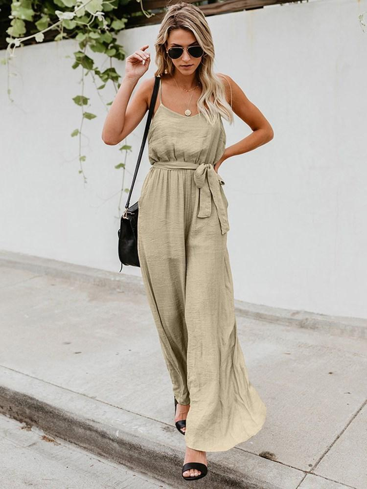 Strap Full Length Plain Loose Wide Legs Jumpsuit