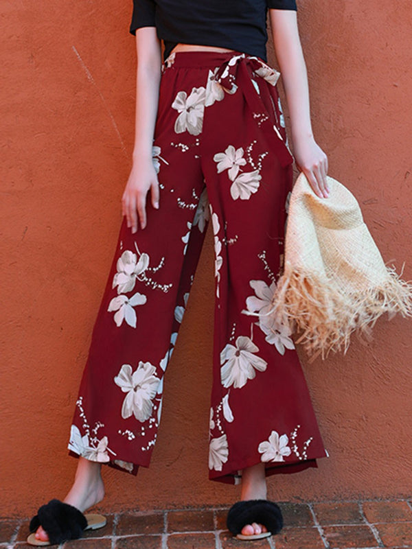 Loose Floral Print Wide Legs Mid Waist Casual Pants