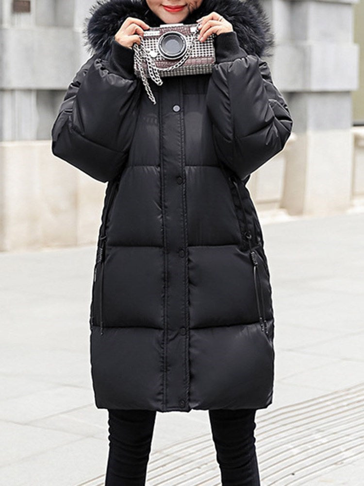 Pocket Thick Zipper Mid-Length Cotton Padded Overcoat