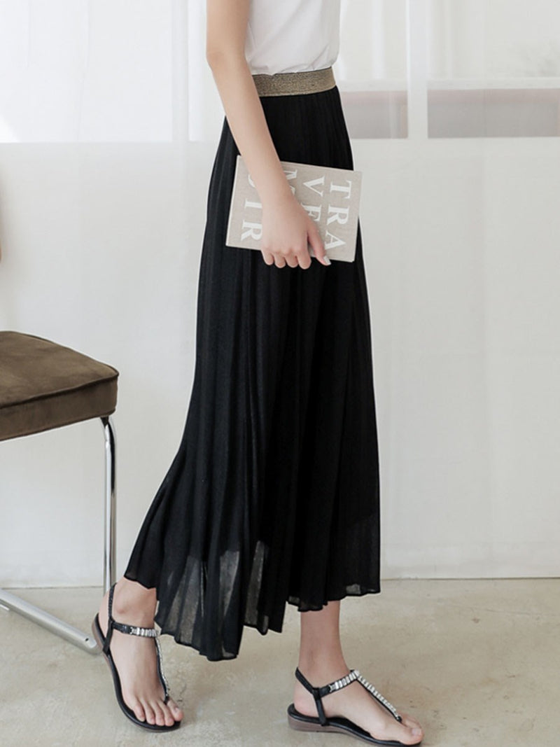 Pleated Pleated Mid-Calf Sweet High Waist Skirt