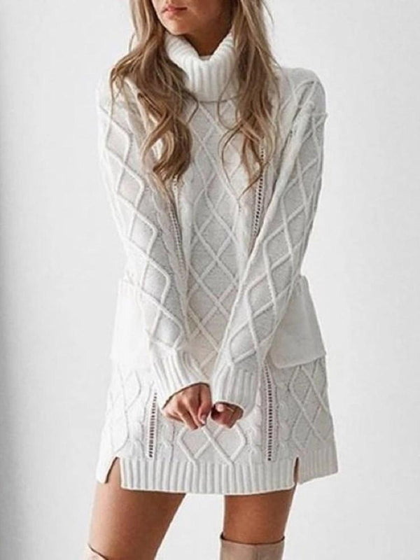 Turtleneck Pocket Above Knee Straight Spring Dress