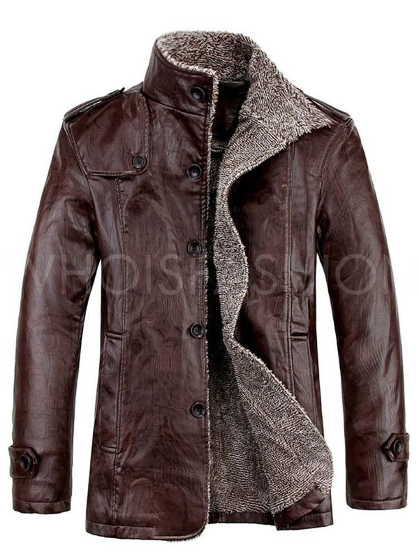 Standard Plain Stand Collar Winter Single-Breasted Leather Jacket