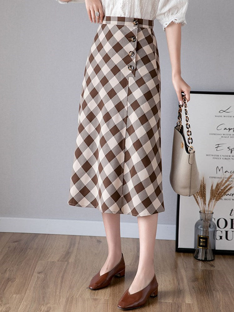 Button Plaid Mid-Calf Office Lady Skirt