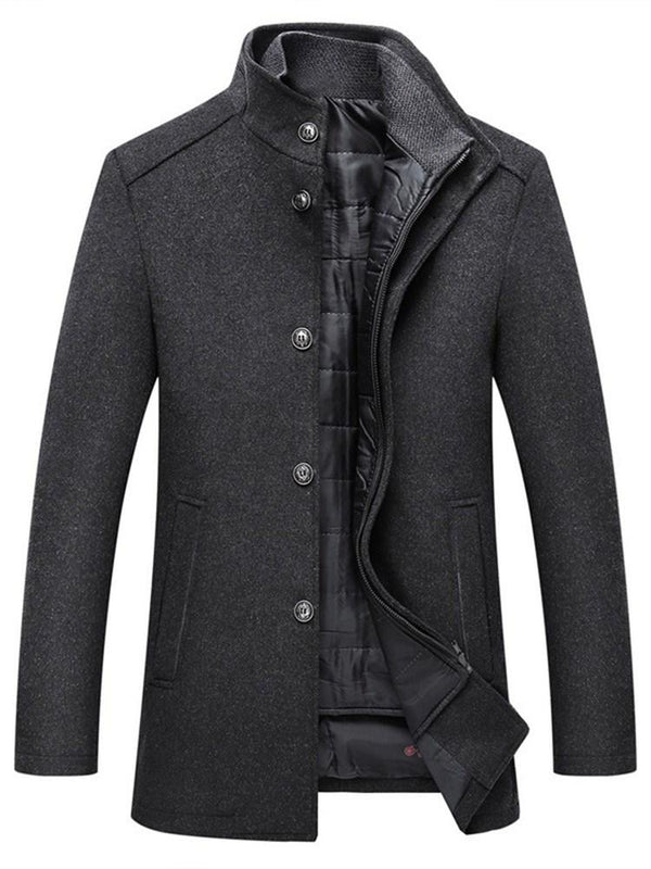 Stand Collar Plain Mid-Length Winter Single-Breasted Coat