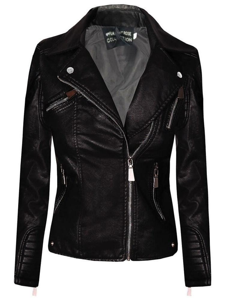 Standard Slim Zipper PU Jacket
