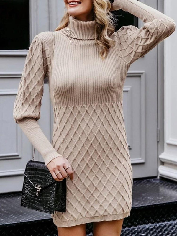 Above Knee Turtleneck Long Sleeve Pullover Bodycon Dress