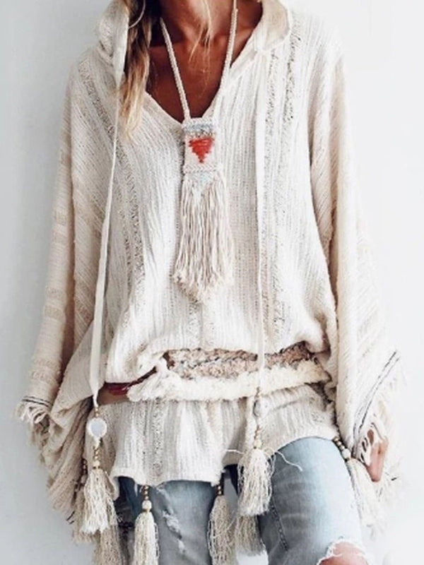 Plain Worn V-Neck Mid-Length Long Sleeve Blouse
