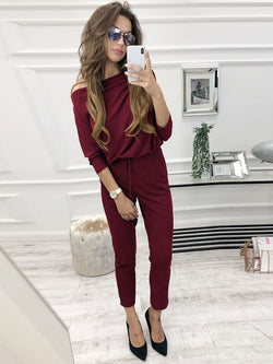 Casual Ankle Length Plain Straight Loose Jumpsuit