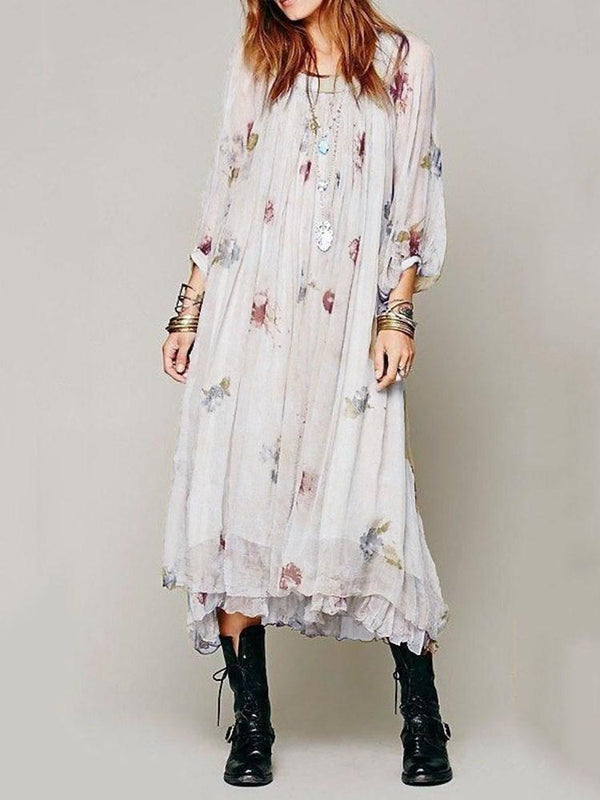 Print Mid-Calf Three-Quarter Sleeve A-Line Pullover Dress