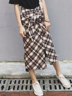 Plaid Ankle-Length Mermaid Western Skirt