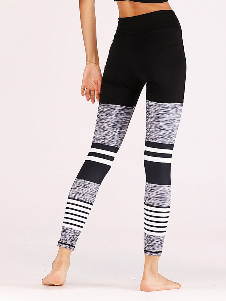 Patchwork England Color Block Mid-Waist Leggings - Comfyfree