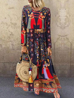 Print Long Sleeve Ankle-Length Pullover Standard-Waist Dress