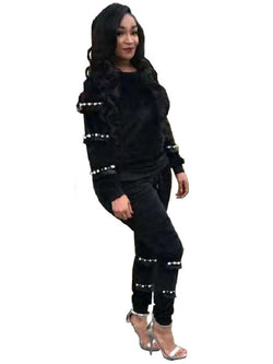 Pants Casual Bead Pullover Round Neck Two Piece Sets