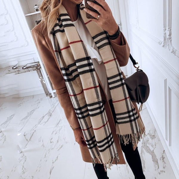 Tassel Casual Polyester Plaid Scarves