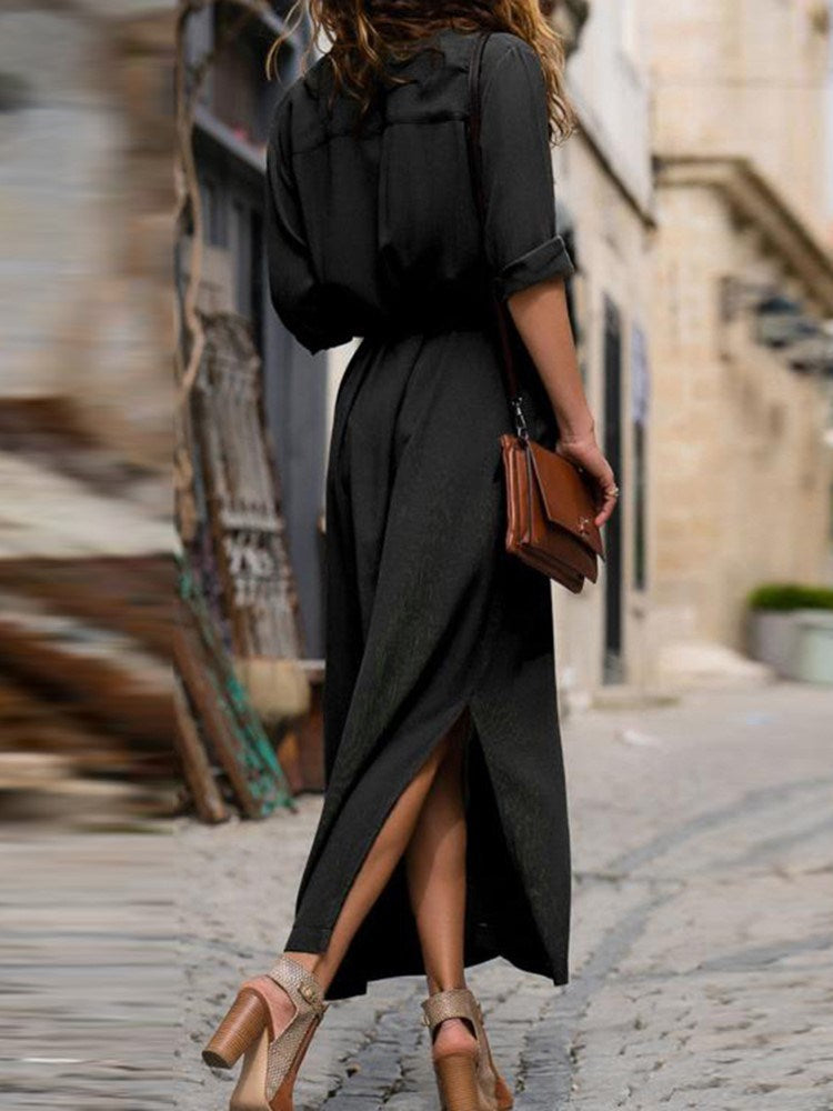 Ankle-Length Long Sleeve Single-Breasted Winter Dress