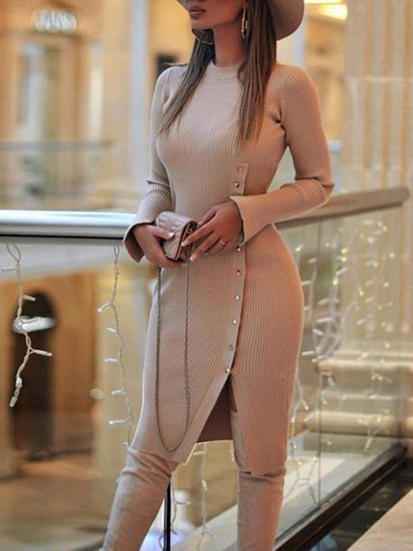 Button Long Sleeve Knee-Length Pullover Regular Dress