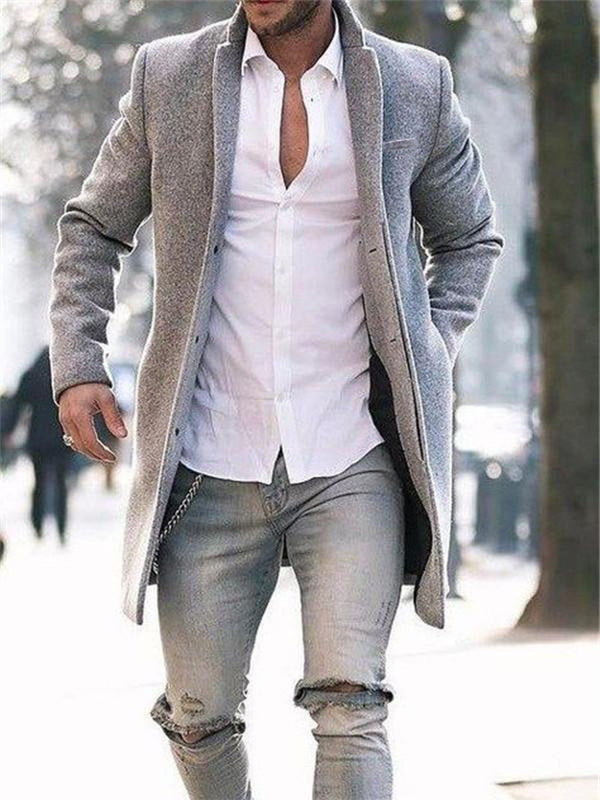 Plain Mid-Length Spring Slim Coat