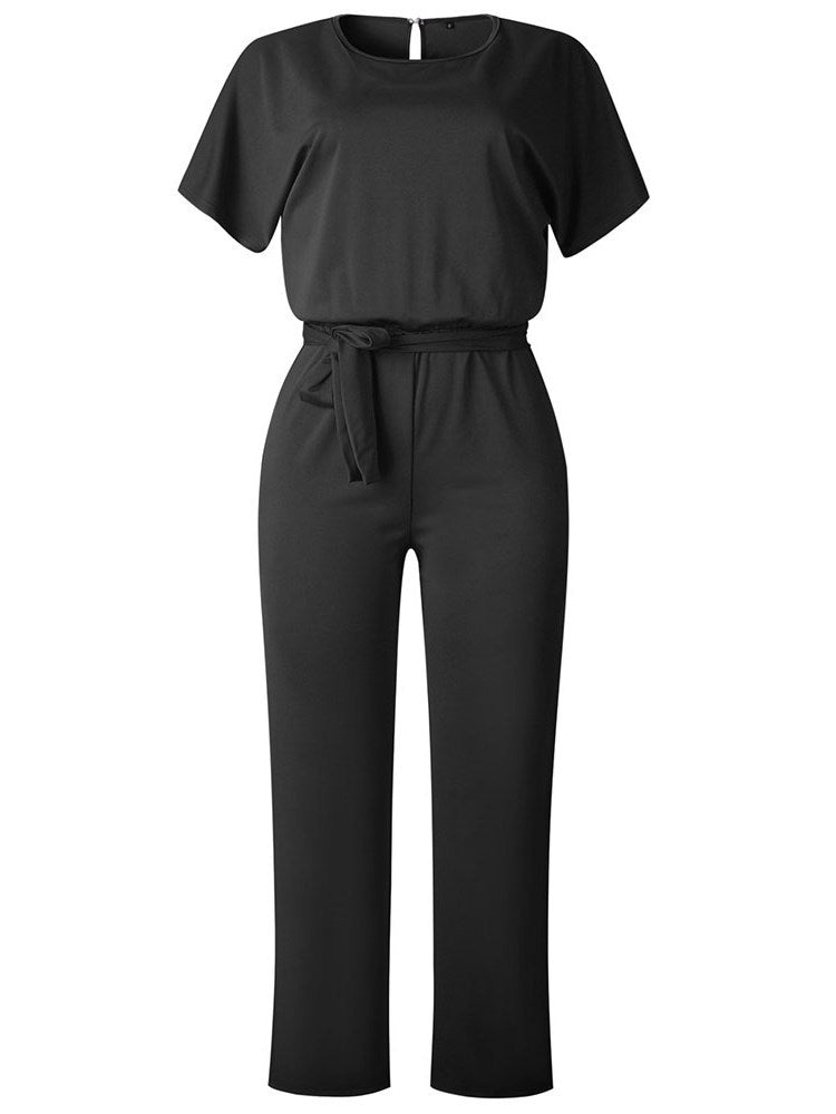 Full Length Plain Lace-Up Straight Slim Jumpsuit