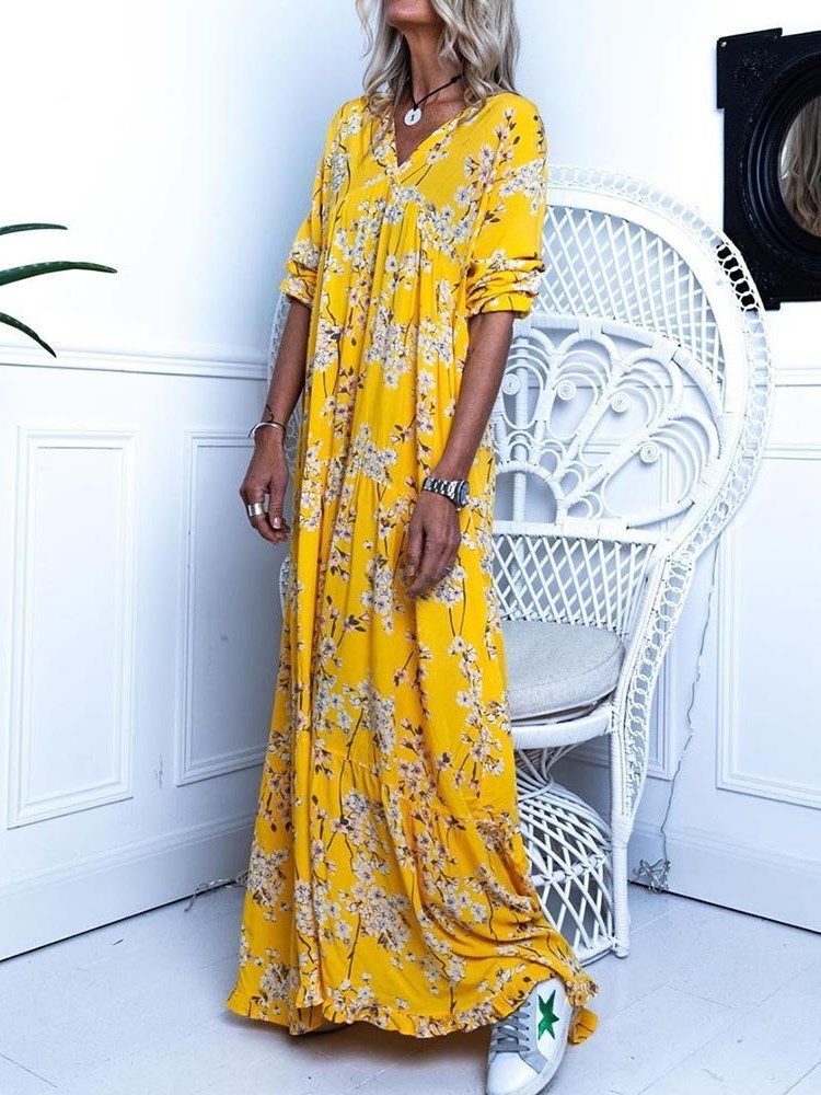 Print V-Neck Floor-Length Floral Western Dress