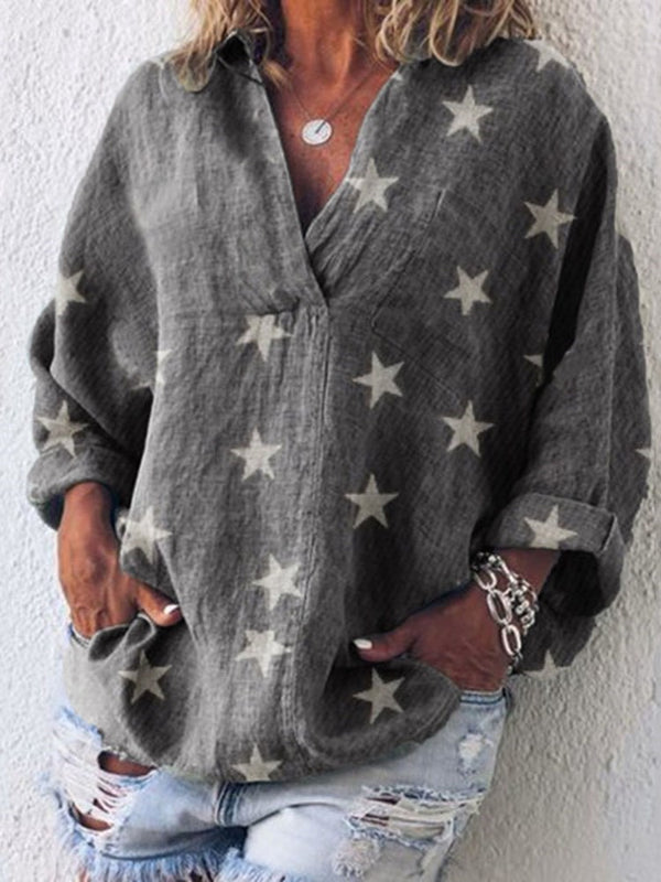 Star V-Neck Print Mid-Length Three-Quarter Sleeve Blouse