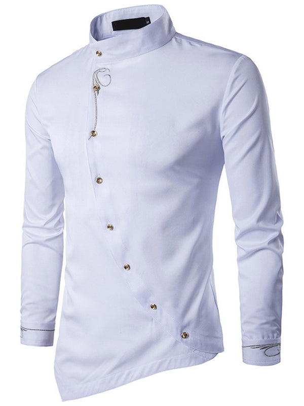 Stand Collar Plain Single-Breasted Slim Shirt