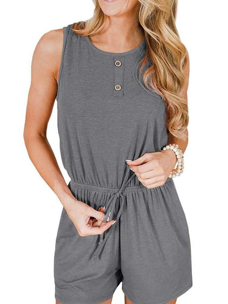 Pocket Shorts Casual Loose Mid Waist Jumpsuit