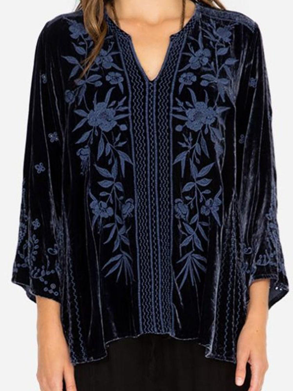 Embroidery V-Neck Floral Mid-Length Three-Quarter Sleeve Blouse