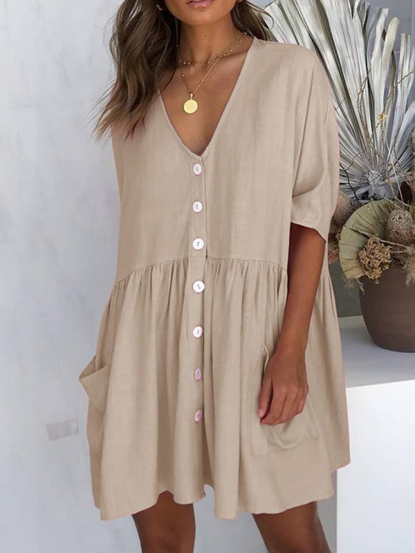 Half Sleeve Button V-Neck A-Line Plain Dress