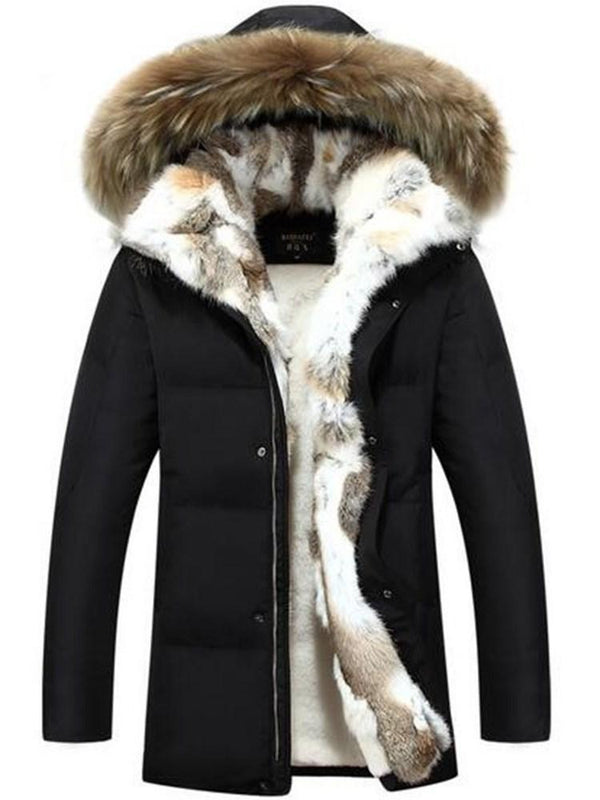 Hooded Mid-Length Color Block Casual Down Jacket
