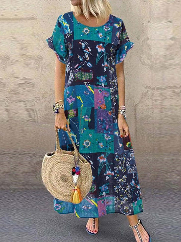 Round Neck Print Short Sleeve Travel Look Floral Dress