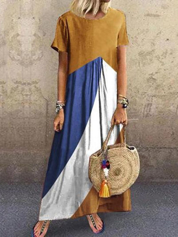 Ankle-Length Patchwork Round Neck Pullover Color Block Dress