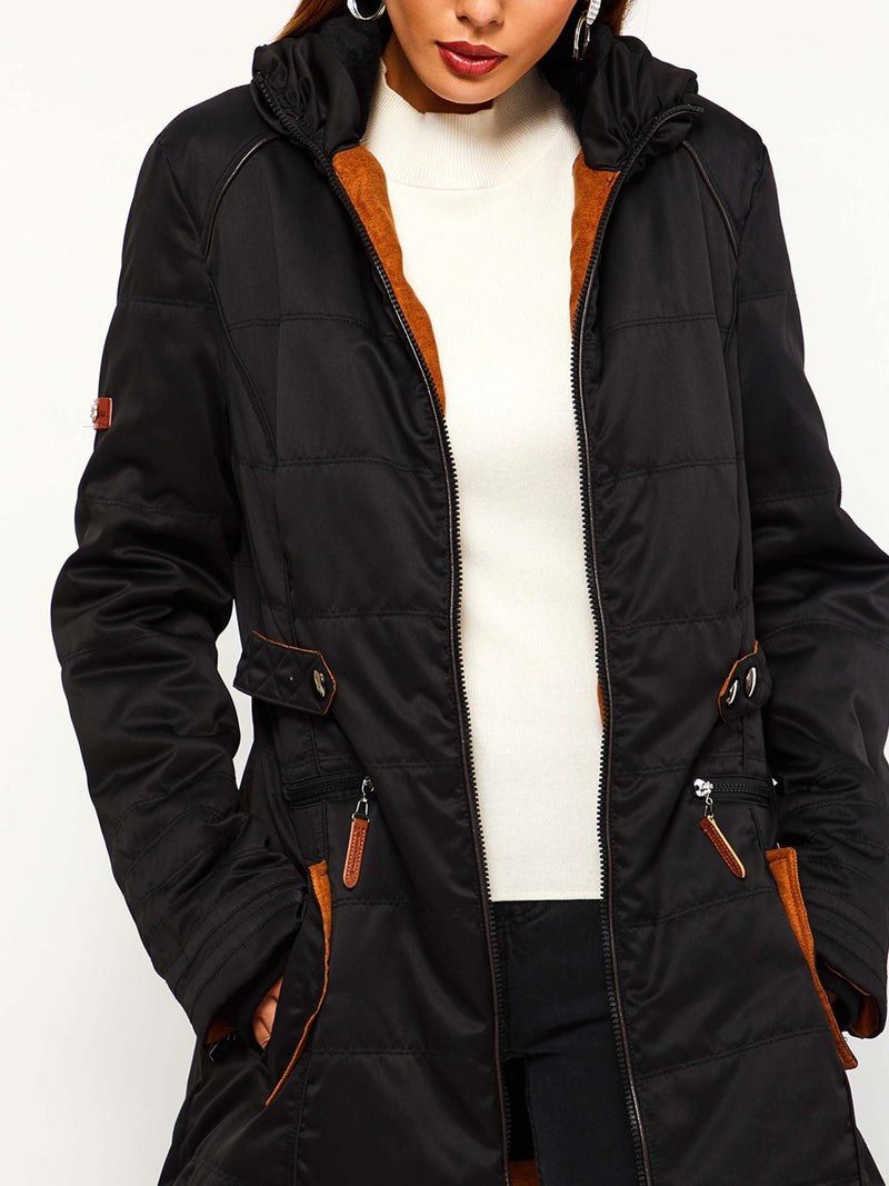 Zipper Long Sleeve Slim Mid-Length Regular Jacket